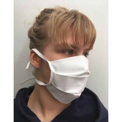 Bavlnené zdravotnícke rúško - biele, na viacnásobné použitie