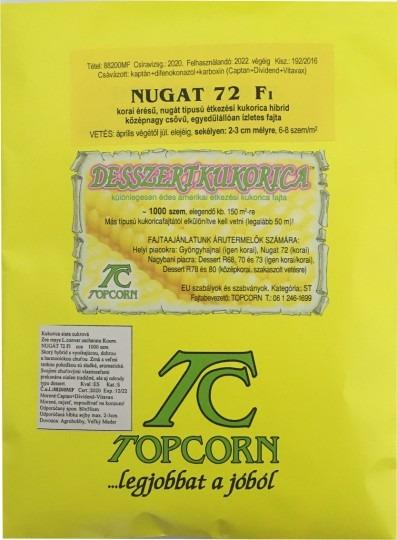 Kukurica cukrová – skorá – Nugát 72 F1, 1000 sem.
